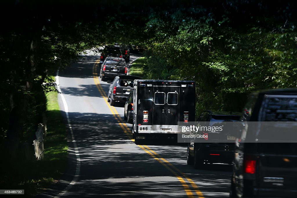 The Presidential motorcade makes its way across the island with President Barack Obama as it heads to Farm Neck Golf club.