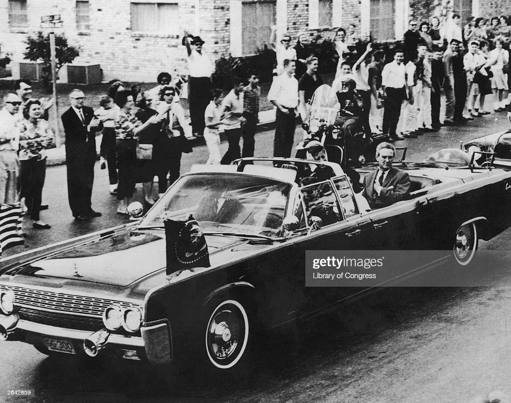 The Presidential motorcade with Texas governor John Connally first lady Jackie Kennedy and President John F Kennedy on November 21 1963 in San...