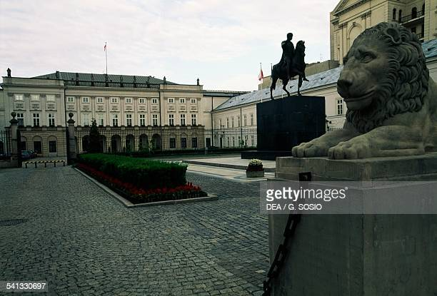 The Presidential palace with the equestrian statue of Prince Jozef Poniatowski on the right Warsaw's Old Town Poland
