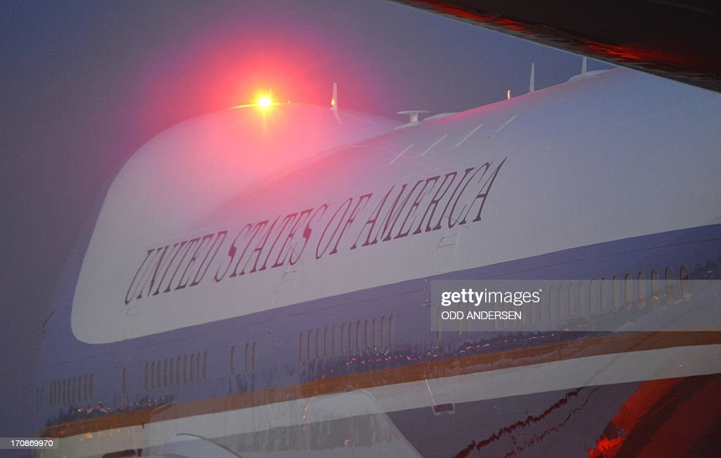 The presidential plane Air Force One is ready to take off the airport in Berlin on June 19, 2013. Obama said Russian and US nuclear weapons should be slashed by up to a third in a keynote speech in front of Berlin's iconic Brandenburg Gate in which he called for a world of 'peace and justice'.