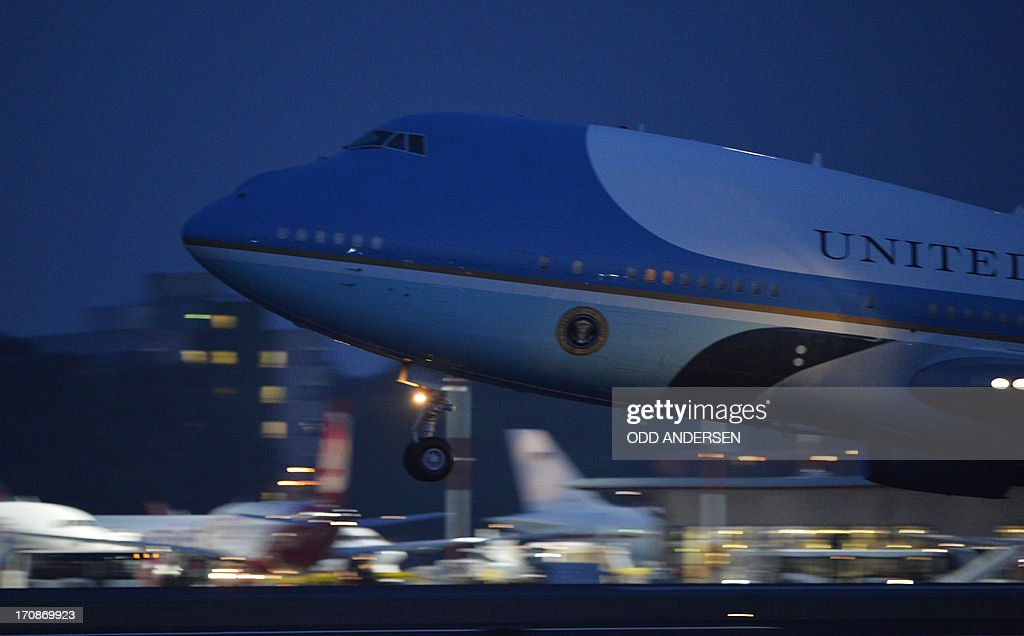 The presidential plane Air Force One takes off from the airport in Berlin on June 19, 2013. Obama said Russian and US nuclear weapons should be slashed by up to a third in a keynote speech in front of Berlin's iconic Brandenburg Gate in which he called for a world of 'peace and justice'.
