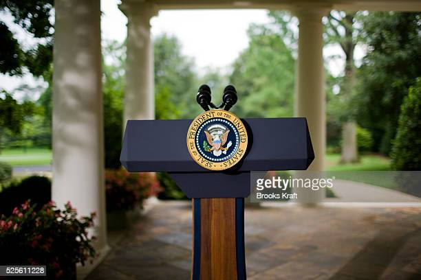 The presidential podium outside the Oval Office at the White House in Washington DC