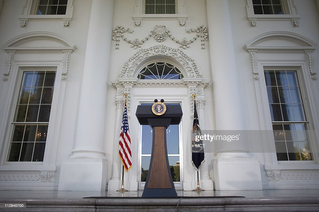 The Presidential podium sits on the North Portico of the White House after President George W Bush made a statement to the media after meeting with...