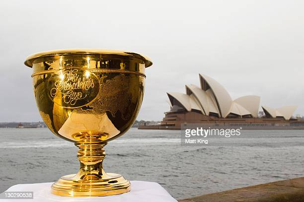 The Presidents Cup is on display in front of the Sydney Opera House on October 26 2011 in Sydney Australia The 2011 Presidents Cup tournament will be...