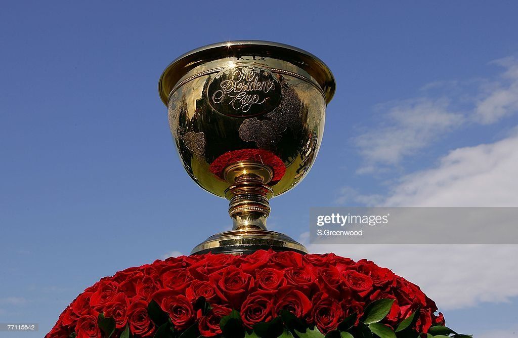 The Presidents Cup trophy is displayed during the final day singles matches of The Presidents Cup on September 30 at The Royal Montreal Golf Club in...