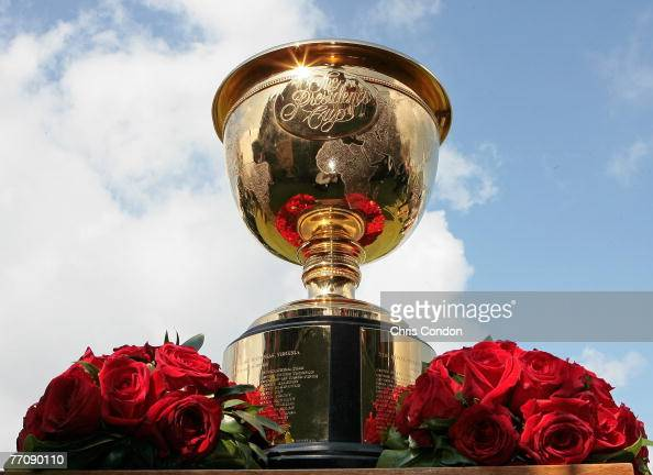 The Presidents Cup trophy waits on the first tee during the second round four ball matches for the Presidents Cup at The Royal Montreal Golf Club...