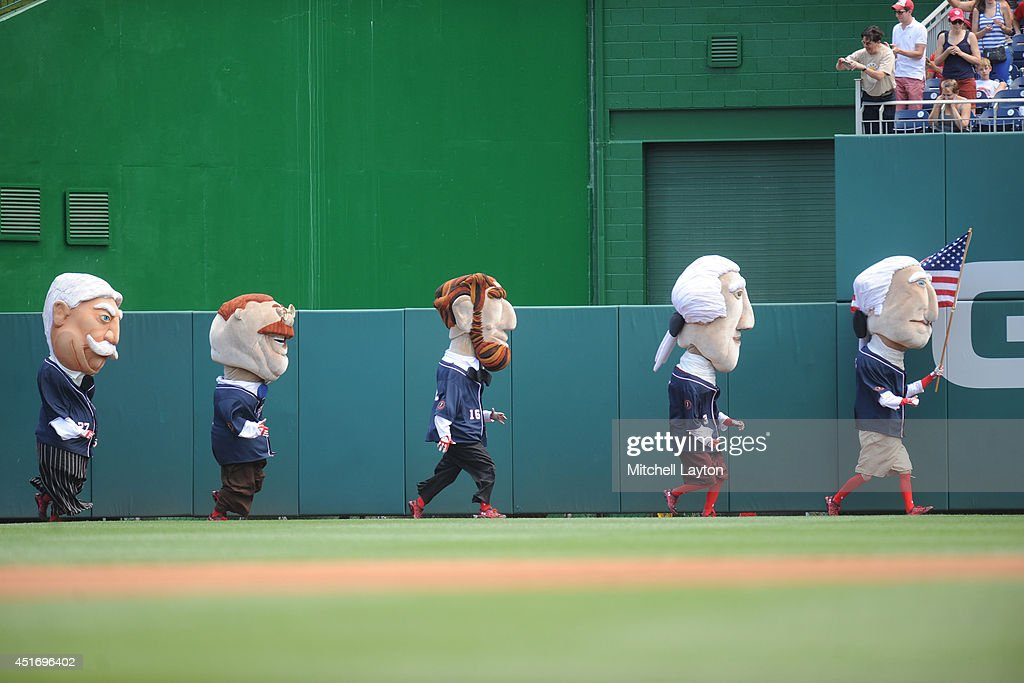 The President's Race during a baseball game between the Washington Nationals the Chicago Cubs on July 4 2014 at Nationals Park in Washington DC The...
