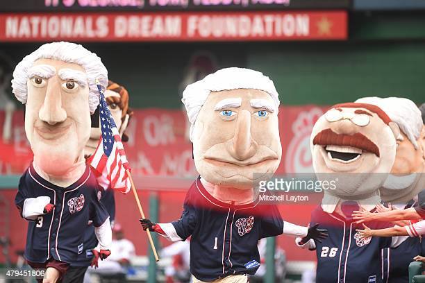 The President's Race during a baseball game between the Washington Nationals and the San Francisco Giants at Nationals Park on July 4 2015 in...