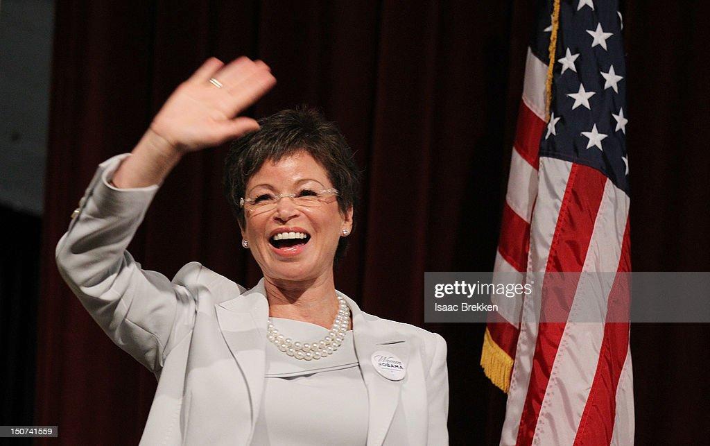 The President's Senior Advisor Valerie Jarrett attends the Nevada Women Vote 2012 Summit on August 25 2012 in Las Vegas Nevada The event focused on...