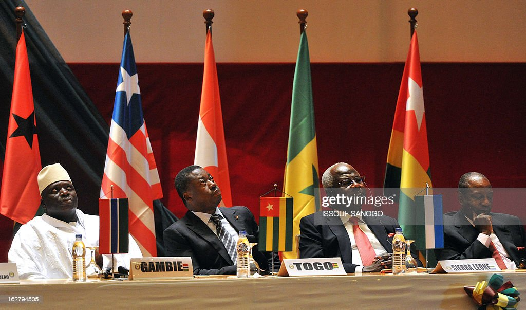 The Presidents Yaya Jammeh of Gambia, Faure Gnassingbe of Togo Ernest Bai Koromah of Sierra Leone and Alpha Conde of Guinea attend on February 27, 2013 an ordinary ECOWAS summit at the Felix Houphouet-Boigny Fundation in Yamoussoukro. West African nations will need aid worth $950 million (715 million euros) to sustain and reinforce a military mission to help fight Islamists in Mali.