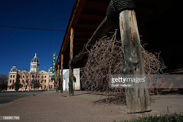 The Presidio County Courthouse is seen at the end of Highland Avenue on December 27 2012 in Marfa Texas Situated in West Texas this town of just over...