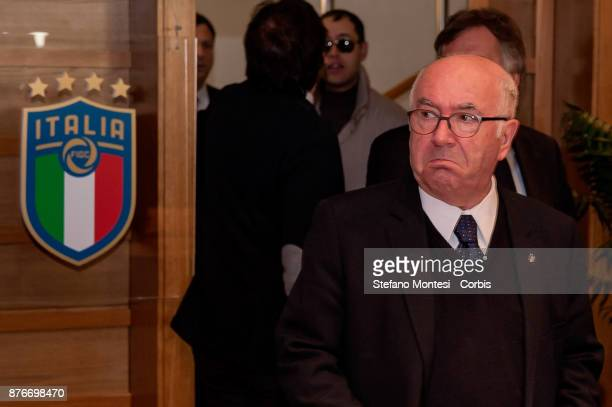 The press conference of Italian Football Federation President Carlo Tavecchio preceeding his resignation on November 20 2017 in Rome Italy The...