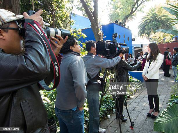 The press during the presentation of the exhibition Las Apariencias Engañan The Frida Kahlo Dresses presented by Vogue magazine at Frida Kahlo´s...