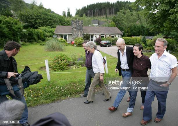 The press walk with freed BBC journalist Alan Johnston as he is reunited with family members sister Katriona brotherinlaw Raymond Hogg and parents...