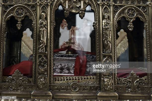 The presumed relics of the Saint Valentine are on display inside the Church of Metastasis of Virgin Mary in Mytilene on the island of Lesbos on...