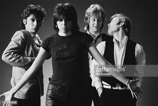The Pretenders bassist Pete Farndon singer and guitarist Chrissie Hynde guitarist James HoneymanScott and drummer Martin Chambers British rock band...
