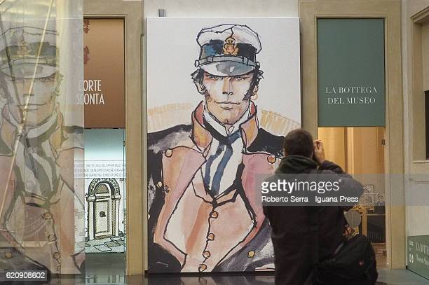 The preview of the exhibition 'Hugo Pratt e Corto Maltese' about the italian author and artist Hugo Pratt and his painting and storyteller work on...