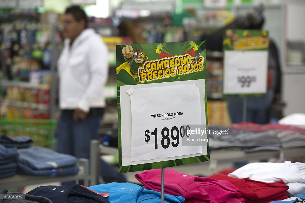 The price for shirts is displayed at a Bodega Aurrera store, the discount chain owned by Wal-Mart Stores Inc., in Naucalpan de Juarez, Mexico, on Wednesday, May 4, 2016. Wal-Mart de Mexico SAB reported first-quarter results last week that beat analysts estimates, the most recent sign of growth for Mexican companies this earnings season. Photographer: Susana Gonzalez/Bloomberg via Getty Images