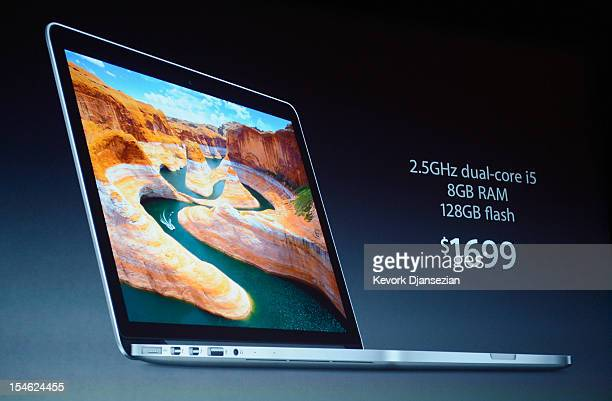 The price of a new 13inch MacBook Pro is dirplayed during an Apple special event at the historic California Theater on October 23 2012 in San Jose...