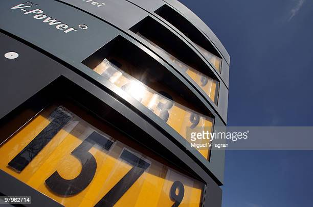 The prices for gas are displayed at a fuelling station on March 23 2010 in Munich Germany German President Horst Koehler said higher gas prices could...