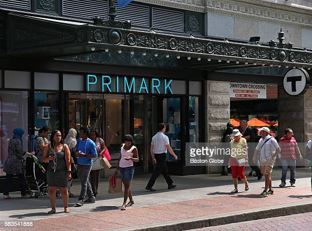 The Primark shop window on the lower level of the Burnham Building formerly part of Filene's department store located next to the new Millennium...