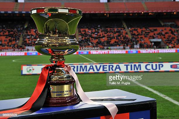 The Primavera Tim Cup trophy shown before the Primavera Tim Cup final between AC Milan and US Citta di Palermo at Stadio Giuseppe Meazza on April 14...