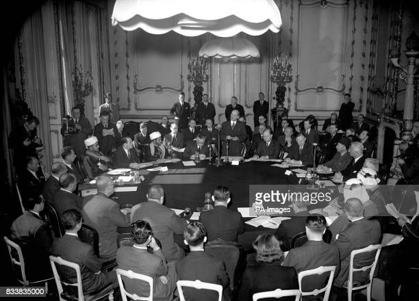 The Prime Minister Clement Attlee opened the Palestine Conference at Lancaster House St Jame's London Present were the British delegation and...