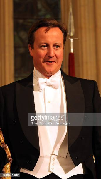 The Prime Minister David Cameron in the Great Hall at the Guildhall in the City of London for the annual Lord Mayors Banquet