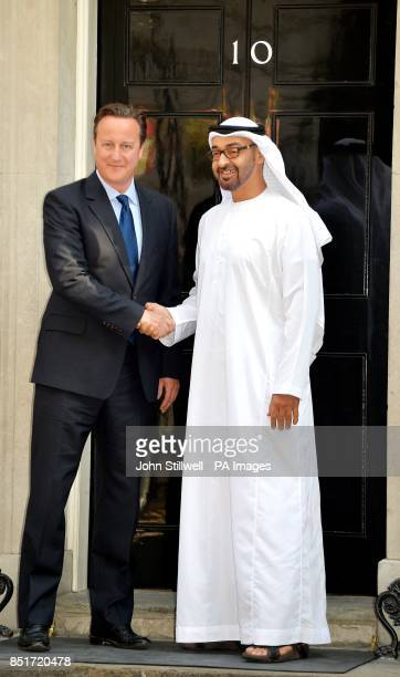 The Prime Minister David Cameron shakes hands with Crown Prince Mohammed bin Zayed bin Sultan Al Nahyan of Abu Dhabi ahead of a bilateral meeting at...