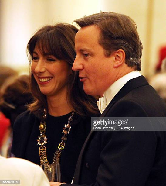 The Prime Minister David Cameron with his wife Samantha in the Great Hall at the Guildhall in the City of London for the annual Lord Mayor's Banquet