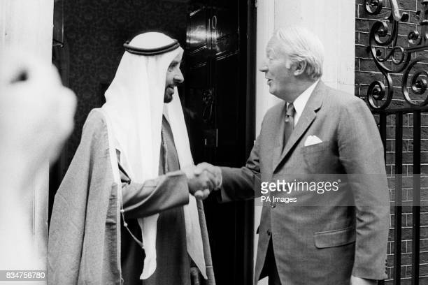 The Prime Minister Edward Heath greets Sheikh Zayed bin Sultan AlNahayan Ruler of Abu Dhabi at 10 Downing Street where they lunched together