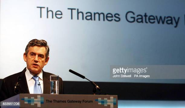 The Prime Minister Gordon Brown addresses an audience at the Thames Gateway Forum at the ExCel centre in Docklands East London this afternoon