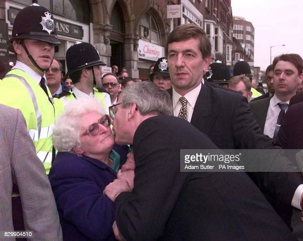 The Prime minister John Major kisses an unidentified old women in the Luton crowd after speaking from his soap box this afternoon The Prime Minister...