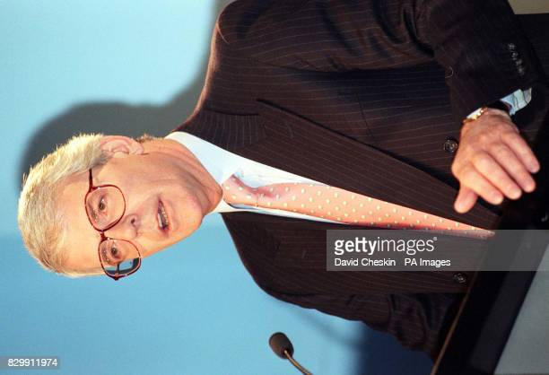 The Prime Minister John Major speaking during a news conference at Conservative Central Office in London this morning where he hit back at President...