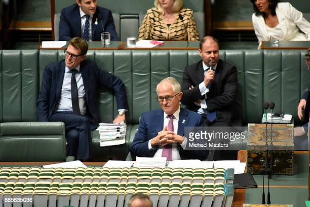 The Prime Minister Malcolm Turnbull during Question Time in House of Representatives at Parliament House on December 5 2017 in Canberra Australia
