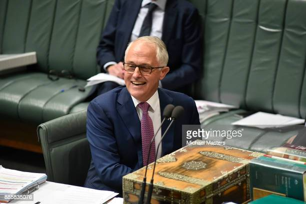 The Prime Minister Malcolm Turnbull smiles during Question Time in House of Representatives at Parliament House on December 5 2017 in Canberra...