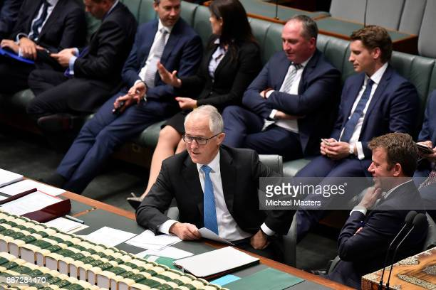 The Prime Minister Malcolm Turnbull voting in support of amendments to the marriage eqaulity bill at Parliament House on December 7 2017 in Canberra...