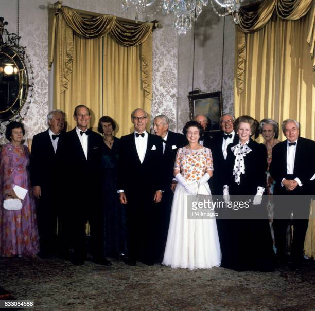 The Prime Minister Margaret Thatcher hosting a dinner to celebrate the 250th anniversary of 10 Downing Street London as the residence of the First...