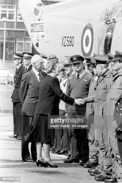 The Prime Minister Margaret Thatcher meeting members of the helicopter rescue crews who took part in the major operation to find survivors of the...
