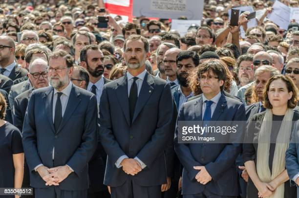 The Prime Minister Mariano Rajoy the King of Spain Felipe VI Carles Puigdemont the President of the Generalitat de Catalunya and Ada Colau the Mayor...