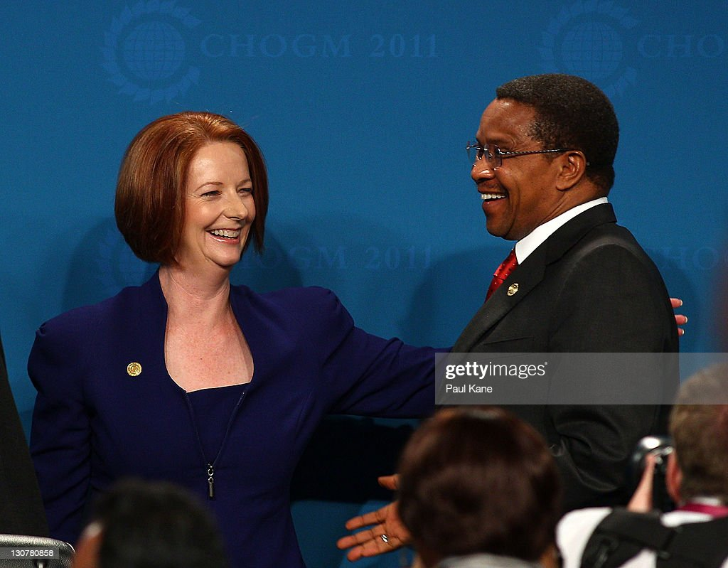 The Prime Minister of Australia <a gi-track='captionPersonalityLinkClicked' href=/galleries/search?phrase=Julia+Gillard&family=editorial&specificpeople=787281 ng-click='$event.stopPropagation()'>Julia Gillard</a> apologises to the President of Tanzania <a gi-track='captionPersonalityLinkClicked' href=/galleries/search?phrase=Jakaya+Kikwete&family=editorial&specificpeople=547422 ng-click='$event.stopPropagation()'>Jakaya Kikwete</a> after mistakingly addressing him as the President of Tasmania during the Concluding Press Conference at the Commonwealth Heads of Government Meeeting on October 30, 2011 in Perth, Australia. Queen Elizabeth II opened the 54-nation summit, following a 9-day tour of Australia. The three-day biennial gathering is chaired by Australian Prime Minister, <a gi-track='captionPersonalityLinkClicked' href=/galleries/search?phrase=Julia+Gillard&family=editorial&specificpeople=787281 ng-click='$event.stopPropagation()'>Julia Gillard</a> and concludes on October 30.