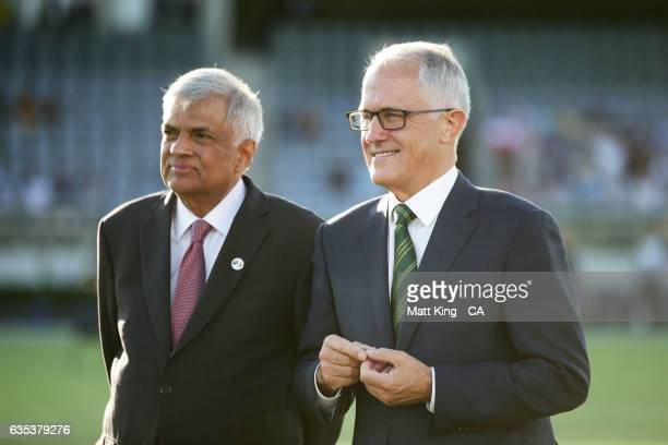 The Prime Minister of Australia Malcolm Turnbull and Sri Lankan Prime Minister Ranil Wickremesinghe take part in the coin toss during the T20 warm up...