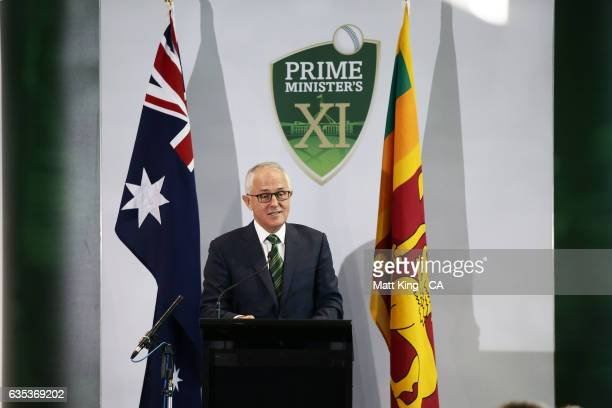 The Prime Minister of Australia Malcolm Turnbull speaks at the official function during the T20 warm up match between the Australian PM's XI and Sri...