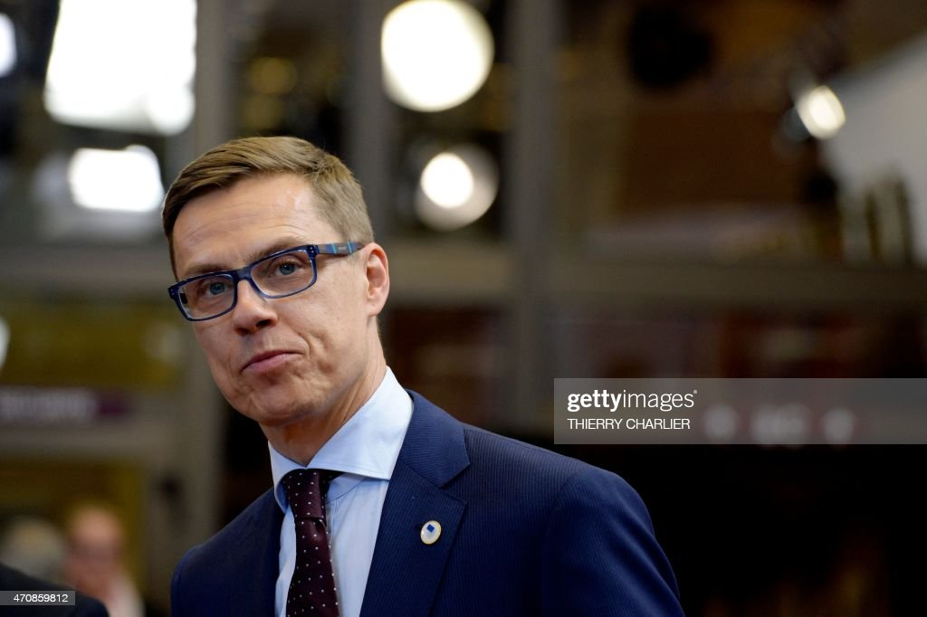 The Prime Minister of Finland <a gi-track='captionPersonalityLinkClicked' href=/galleries/search?phrase=Alexander+Stubb&family=editorial&specificpeople=2157393 ng-click='$event.stopPropagation()'>Alexander Stubb</a> looks on after an emergency European leaders meeting to discuss Europe's response to the Mediterranean migrants crisis at the European Council in Brussels on April 23, 2015. The EU will triple the funding of its search and rescue mission in the Mediterranean to help cope with an upsurge in migrants trying to reach Europe, German Chancellor Angela Merkel.