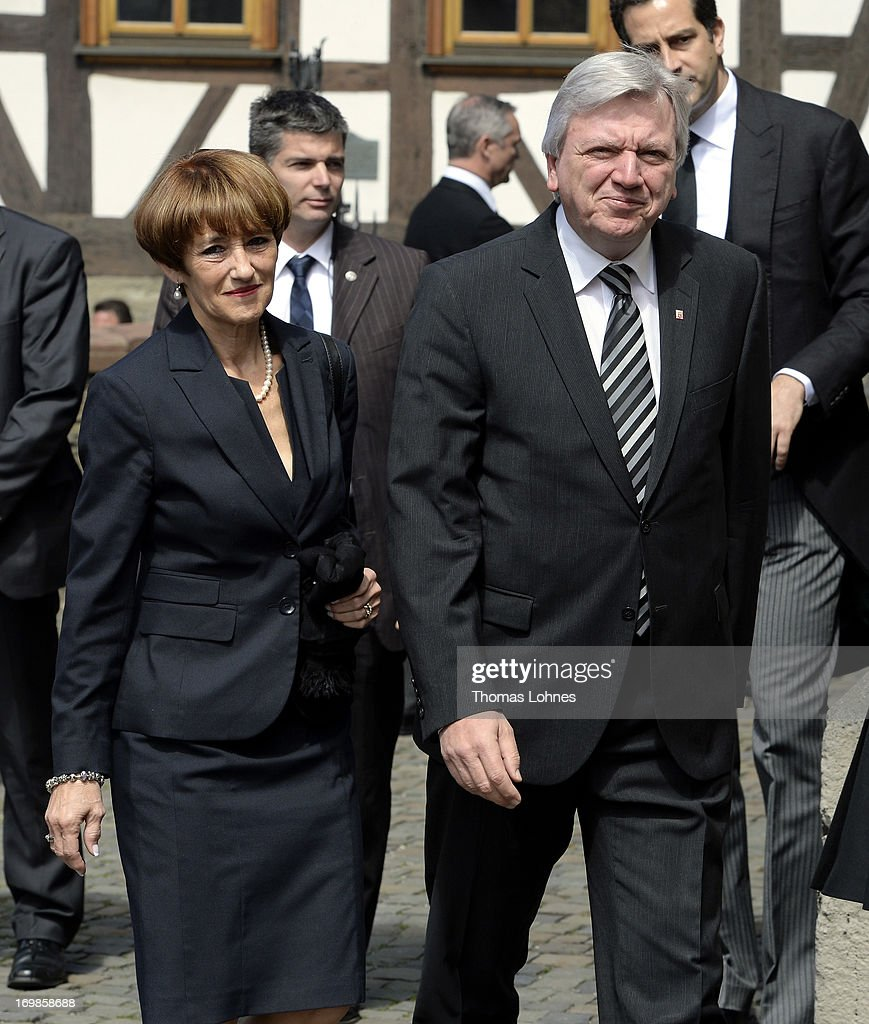 The Prime Minister of Hesse <a gi-track='captionPersonalityLinkClicked' href=/galleries/search?phrase=Volker+Bouffier&family=editorial&specificpeople=2371294 ng-click='$event.stopPropagation()'>Volker Bouffier</a> (CDU) and his wife Ursula attend the funeral service for Moritz Landgrave of Hesse at St. Johann church at Kronberg on June 3, 2013 in Kronberg, Germany. Moritz of Hesse died at the age of 86 years at May 23 in Frankfurt. He was as great-grandson of the emperor Frederick III. and great-grandson of Queen Victoria related to many European royal houses. The english and the dutch Royal House sent Representatives to the funeral service at Kronberg.