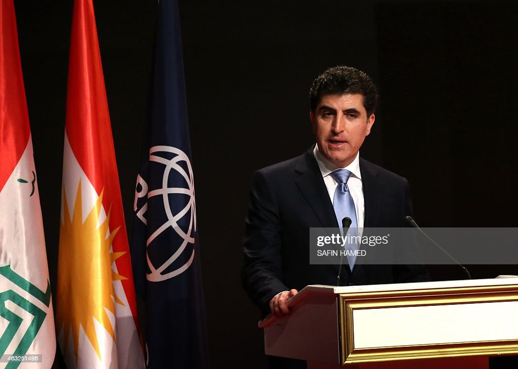 The Prime Minister of Iraq's autonomous Kurdish region, <a gi-track='captionPersonalityLinkClicked' href=/galleries/search?phrase=Nechirvan+Barzani&family=editorial&specificpeople=582951 ng-click='$event.stopPropagation()'>Nechirvan Barzani</a> speaks during a forum titled 'Economic and Social Impact Assessment of Kurdistan region' after the release of a report by the World Bank on February 12, 2015 in Arbil, the capital of the autonomous Kurdish region in northern Iraq. 'The international community remains deeply concerned by the circumstances facing the refugees and IDPs in the Kurdistan Region of Iraq' said Robert Bou Jaoude, the World Bank Special Representative for Iraq.