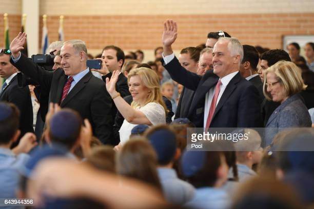 The Prime Minister of Israel Benjamin Netanyahu and his wife Sara and Australian Prime Minister Malcolm Turnbull and his wife Lucy during a visit to...