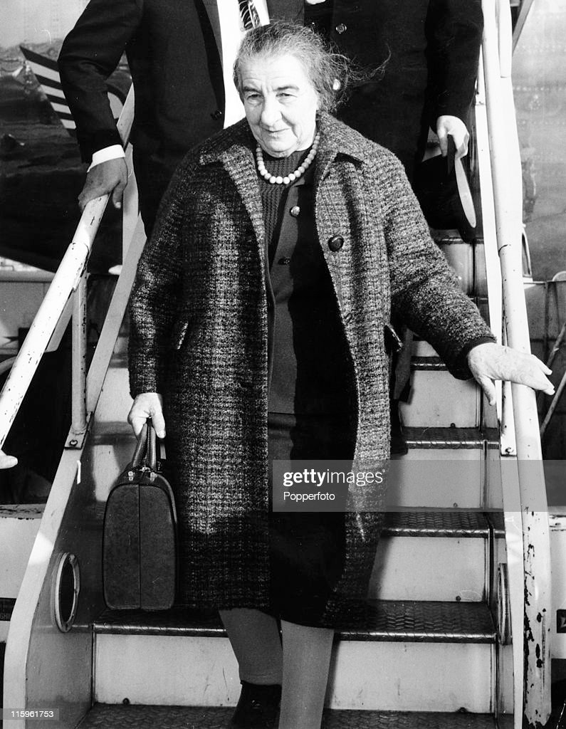 the prime minister of israel golda meir arrives at heatlhrow airport london on 3rd november