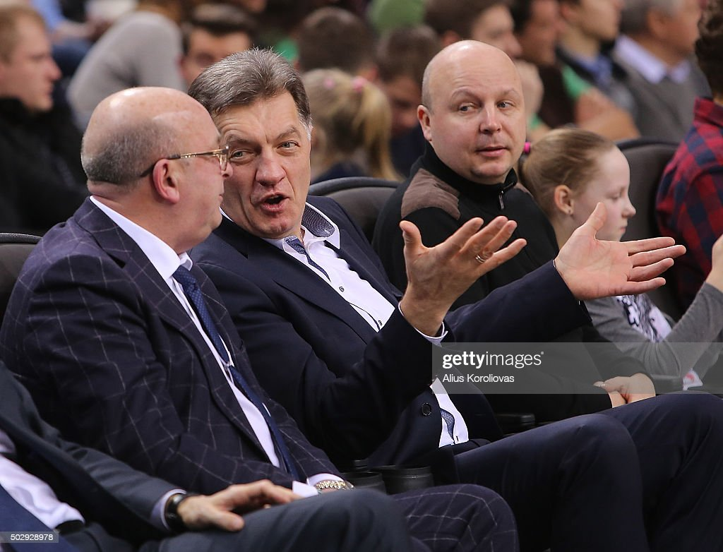 The Prime Minister of Lithuania Algirdas Butkevicius in action during the Turkish Airlines Euroleague Basketball Top 16 Round 1 game between Zalgiris Kaunas v Laboral Kutxa Vitoria Gasteiz at Zalgirio Arena on December 30, 2015 in Kaunas, Lithuania.