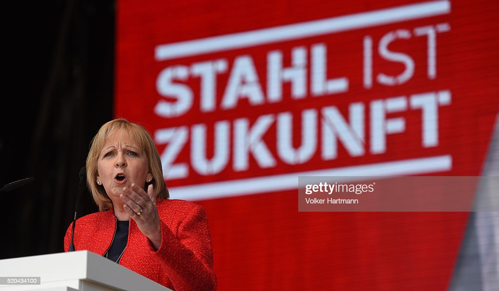 The Prime Minister of North Rhine Westphalia Hannelore Kraft speaks during a protest of Steelworkers against European policies they see threatening their future in front of the ThyssenKrupp steelworks on April 11, 2016 in Duisburg, Germany. An estimated 10,000 steelworkers were to take part in the demonstration, supported by their corporate heads and leading politicians, as a sign to European Union policymakers in Brussels over CO2 emissions programs and what they see as price dumping by Chinese steelmakers on the European market. Duisburg is the heart of German steel making with three steelworks that employ 25,000 people.